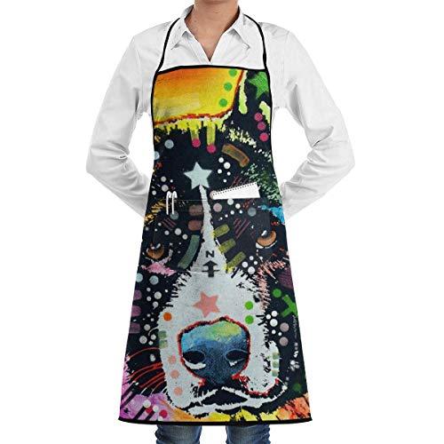 alice-shop Color Art Chinese Garden Dog - Delantal de Cocina, Camarero o Servidor, 1 Bolsillos, Negro, Cocina, Manualidades, Restaurante, Delantal de Cocina