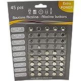 X45 - Baterías de botón (Tipo LR44 batería Reloj y Audiencia Ayuda Baterías LR44 LR41, LR1130, LR621, LR43, LR626, 45. Gran Paquete de Valor. titre