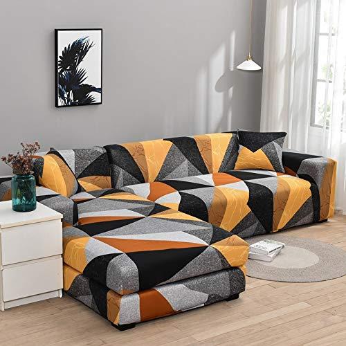 Funda de sofá elástica con Estampado Floral para el Protector de la Funda de la Silla de la Sala de Estar Compre Dos Fundas separadas para el sofá en Forma de L A21 de 4 plazas
