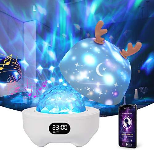 Projektor Lampe Sternenhimmel mit Bluetooth Lautsprecher,Petrichor Nachtlicht Wecker Kinder 10 Modus Dimmbarer Farbwechsel Tisch Nachttischlampen Schlafhilfe Licht für Baby Erwachsene Geschenke