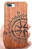 PhantomSky iPhone 7/8 Funda de Madera, [Serie Natural Hecha a Mano de Bambú/Madera Carcasa Case Cover para tu Smartphone - Compás Palisandro