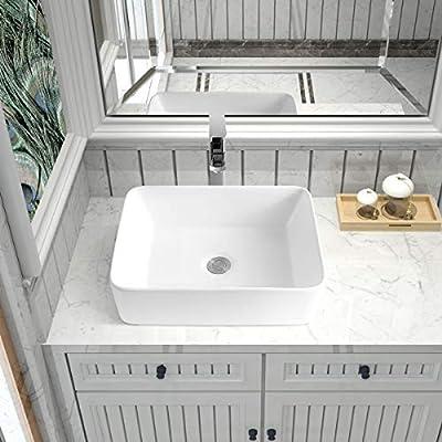 "19"" x 15"" Rectangular White Ceramic Countertop Bathroom Vanity Vessel Sink"