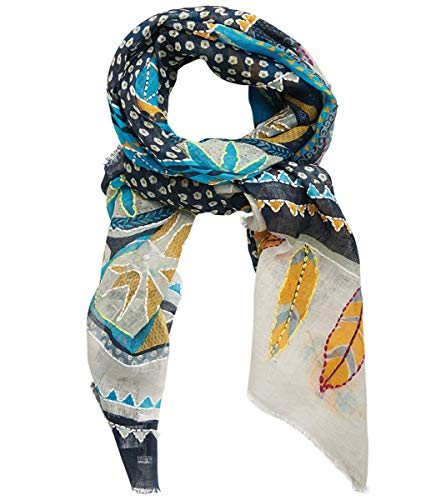 STORI ATIPIC – Sciarpa ATHENA MARINE 100% lino & ricamo cotone Dimensioni: 80 x 190 cm