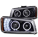 ZMAUTOPARTS 2003-2006 Chevy Silverado/Avalanche Halo LED Black Projector Headlights Headlamps