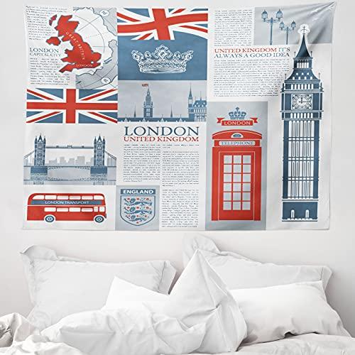 ABAKUHAUS Handyzelle Wandteppich & Tagesdecke, London, Vereinigtes Königreich, aus Weiches Mikrofaser Stoff Wand Dekoration Für Schlafzimmer, 150 x 110 cm, Schiefer-Blau Vermilion