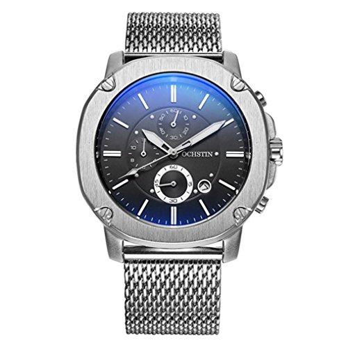 XINLEE Herrenuhr Zeiger zeigt Multifunktions DREI-Pin wasserdichtem Leder Gürtel Uhr, 001