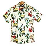 メンズアロハシャツ ライトイエロー/コーヒー柄 ハワイ製 Winnie Fashion 大きいサイズ有(US L)