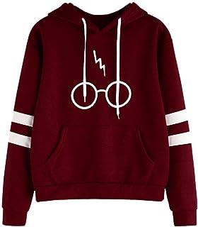 CNBOY Mujeres Camisetas Manga Larga Varsity Gafas de Harry Potter Encapuchado Camisa de Entrenamiento Sudaderas con Capuch...