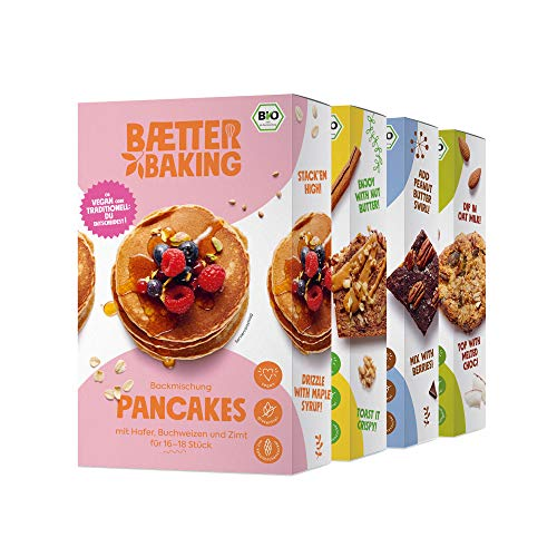 Baetter Baking 4er-Probierpaket Backmischungen (1x Pancakes, 1x Banana Bread, 1x Brownies, 1x Hafer Cookies), vegan, glutenfrei & mit Kokosblütenzucker
