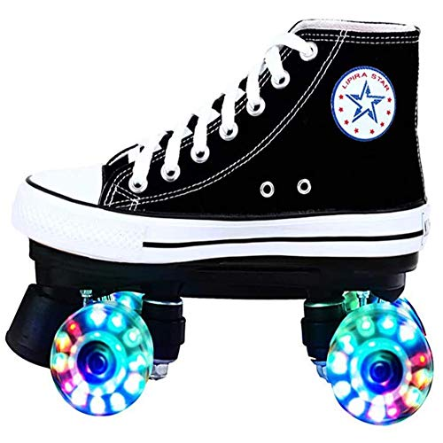 WFZGZ Leinwand Rollschuhe Mit 4 Rollen Roller Skates Roller Skate Indoor Outdoor Retro Roller Skates Für Mädchen Und Jungen,US5/EU35