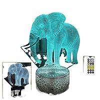 新しい3D象小さなカラフルなタッチナイトランプLEDビジュアルライトギフト雰囲気3Dテーブルランプ
