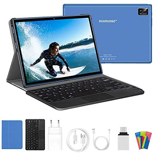Tablet 10.1 Pulgadas Android 10.0,6GB RAM + 128GB (TF 512GB) ROM,5G WiFi 4G LTE, Dobles SIM1280x800 FHD, 5MP+8MP Cámara, Octa-Core, 7000mAh,Tablets Baratas y Buenas con Teclado y Ratón