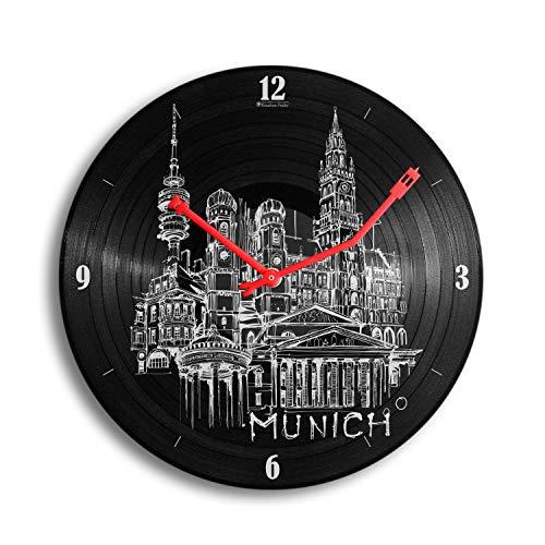 Kreative Feder München Music Schallplatten-Uhr Retro Vinyl Designer Funk Wanduhr leise Funkuhr ohne Ticken 30cm WSP037FL (leises Funkuhrwerk)