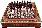 Juego de juegos de mesa de entretenimiento Ajedrez, regalo de estilo chino Ajedrez antiguo, retro Terracotta Warriors Chess Set para niños y adultos juego de ajedrez familiar clásico Juego Juego de ta