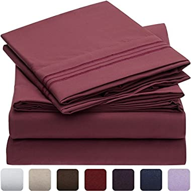 Mellanni Bed Sheet Set - Brushed Microfiber 1800 Bedding - Wrinkle, Fade, Stain Resistant - Hypoallergenic - 4 Piece (King, Burgundy)
