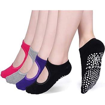 Indoor Yoga Socks For Women Non-Slip Socks with Grips Barre Socks Pilates Socks@