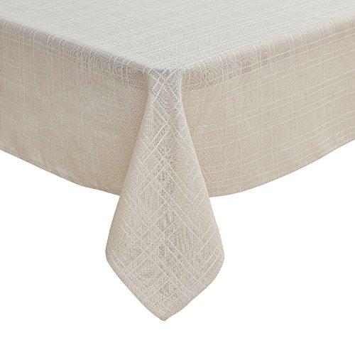 Deconovo Tischdecke Wasserabweisend Leinenoptik Tischwäsche 130x220 cm Creme