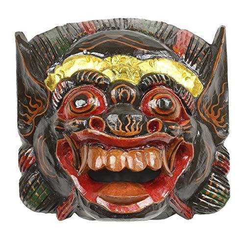 Oriental Galerie Barong Maske balinesische Mythologie Drachenmaske Bali Barongmaske Rangda Ubud Asien Gute Geister traditionell ca. 25 cm Holz, Farbe:Schwarz