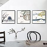Leinwand Malerei Chinesische Vintage Flagge Ahorn Tempel BrüCke Wandkunst Bilder FüR Wohnzimmer KüChe Elegante Wohnkultur-40x40cmx3 Rahmenlos