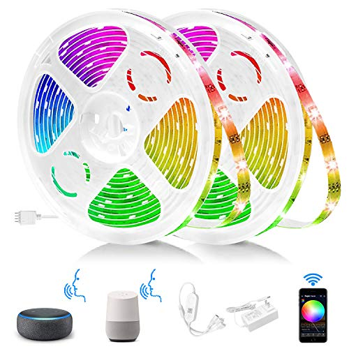 Smart LED Strip Lights Sync with Music 32.8ft Long 16 Million Colors Changing Work with Alexa,Google Home,APP Remote Control Smart Light Strips for Bedroom,TV,Fitop Interior Decoration RGB LED Strip