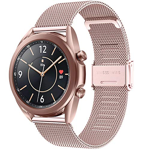 Vecann Cinturino per Galaxy Watch 3 41mm, 20mm Cinturino in acciaio inossidabile Cinturino di ricambio in metallo per Galaxy Watch 42mm/ Active 40mm/ Active 2 40mm 44mm/ Gear Sport/ Gear S2 Classic