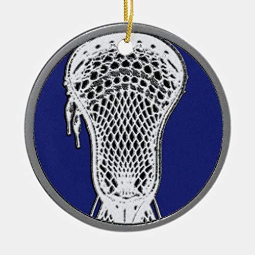 onepicebest Christmas Ornaments, Personalized Lacrosse Keepsake Ceramic Round Shape Ornament, Xmas Gifts Presents, Holiday Tree Decoration Stocking Stuffer Gift