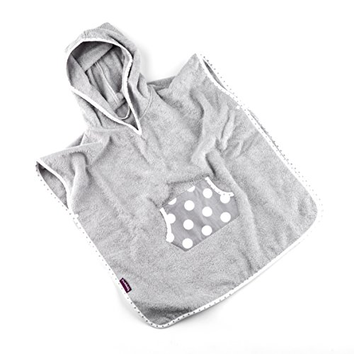 Puckdaddy Bade-Poncho Smilla – 58x87 cm, Baby-Poncho mit Kapuze mit Punkte Muster in Grau, flauschiger Kapuzenbademantel aus 100% Baumwolle & Frottee, Badehandtuch bis 5 Jahre
