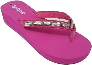 Women's Crystal Rhinestone Strap Platform Wedge Thong Flip Flops Summer Beach Sandals