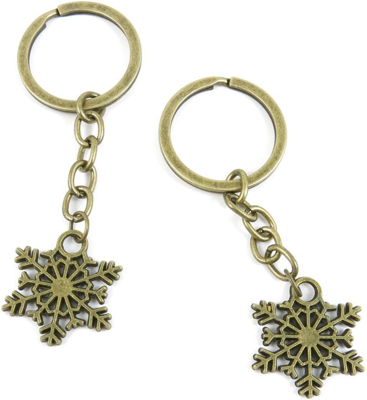 80 PCS Keyring Car Door Key Ring Tag Chain Keychain Wholesale Suppliers Charms Handmade J4JL5 Snowflake Snow Flake