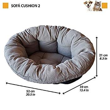 Coussin Ferplast pour Chien et Chats Coussin Sofa' 2 Coussin de Rechange Rembourré pour Corbeille en Plastique, Coton Doux Lavable, Réglable avec Cordon Élastique, 52 X 39 X H 21 cm Gris