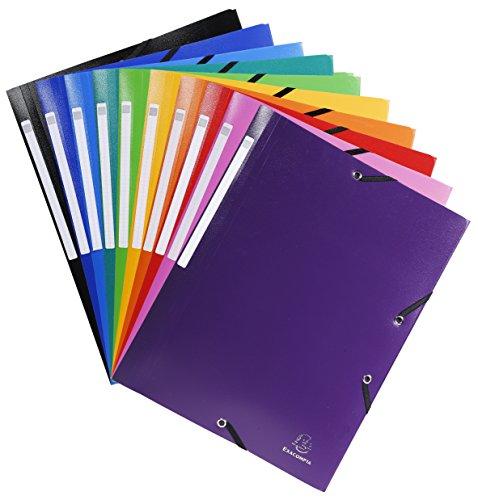 Exacompta - Réf. 55840E - Paquet de 10 chemises à 3 rabats avec élastique OPAK 24x32 cm polypro 5/10 eme avec étiquette coloris assortis (10 couleurs differentes)
