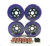 83mm Longboard Flywheels Wheels + ABEC 7 Bearings Spacers (Purple)