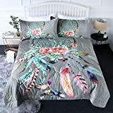 BlessLiving 3 Piece Boho Comforter Set with Pillow Shams – Big Dream Catcher Rose 3D Printed Bedding Set Reversible Comforter Twin Size Bedding Sets – Soft and Comfortable Machine Washable, Grey