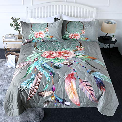 BlessLiving 3 Piece Boho Comforter Set with Pillow Shams - Big Dream Catcher Rose 3D Printed Bedding Set Reversible Comforter Queen Size Bedding Sets - Soft and Comfortable Machine Washable, Grey