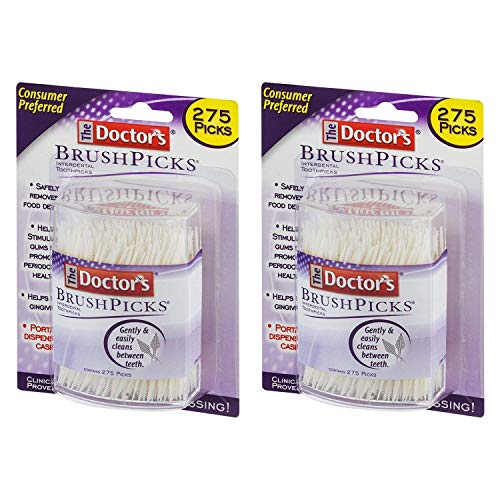 The Doctor's BrushPicks Interdental Toothpicks | 275-Picks per pack | (2-Packs)