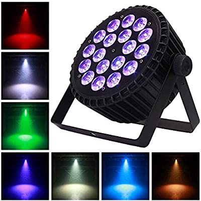 Stage Par Lights, 18X18W LEDs DJ Stage Lights RGBWA UV 6 in 1 with DMX512 Control Sound Activated LED Uplighting Lights for Events Disco Show Concerts Family Party