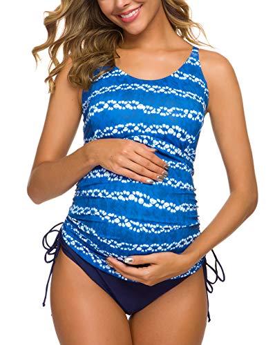 Tempotrek Two Piece Maternity Swimsuits Stripe Halter Swimwear Floral Pregnancy Plus Size Bathing Suits (Blue Print, L)