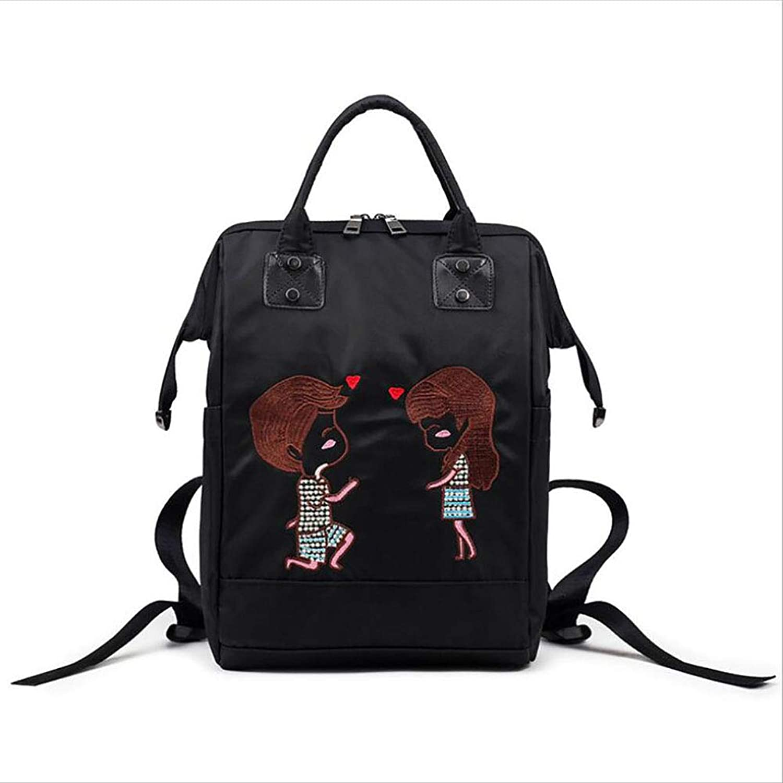 Women's Nylon Backpack Fashion Lady Handbag Large Capacity Messenger Bag Shopping Outdoor Office Occupation All Season Black (color   B)