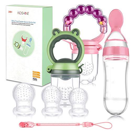 Fruchtsauger Baby Feeder Obst Fütterung Babynahrung Rassel Schnuller Silikon Flasche Löffel für Kleinkinder (Rosa)