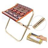 Mini klappbarer Campinghocker Stuhl, tragbarer klappbarer Metallhocker im Freien, Leichter Reisestuhl Fußstützenhocker, für Grillwandergarten Orange 24,8 x 22,5 x 27 cm (10 x 9 x 11 Zoll)