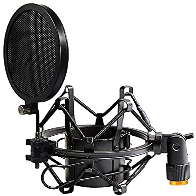 Tencro 42-47mm Microphone Shock Mount Anti-Vibration High Isolation Metal Mic Holder Clip with Pop Filter & Screw Adapter, Fits for Diameter of 42-47mm Microphone in Broadcasting, Recording, Etc. M