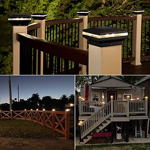 Brightown Fence Post Solar Lights LED Solar Lamp Post Light Fits 4X4 6X6 Posts Cap 15 Lumen Waterproof All Seasons Deck Garden Patio Porch Solar Post Lights Outdoor 3000K Warm White 2 Pack