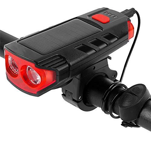 Tendlife Luces solares para bicicleta de doble talón USB, luces para conducción nocturna, equipo de equitación al aire libre