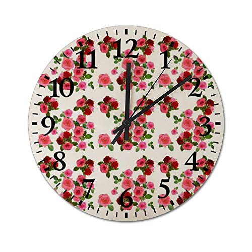 DKISEE Silent Wooden Wall Clock Roses Pattern08 Decorative Simple Roun