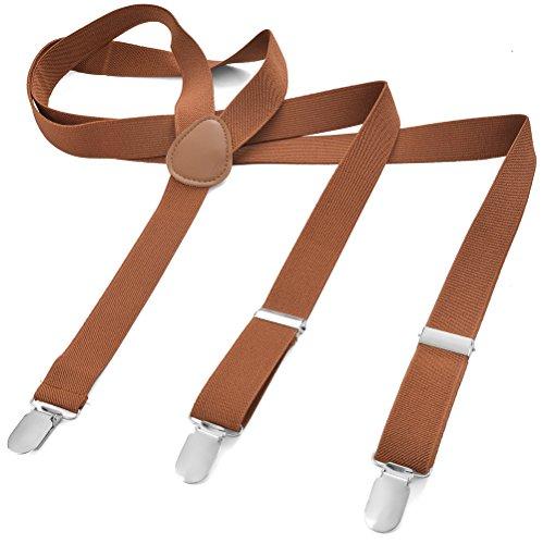 Herren Damen Long Hosenträger Y Form Style 3er Clips elastisch Schmal Unifarbe und Bunt mit verschiedenen Motiv, Braun (Kupferbraun),Gr. One Size