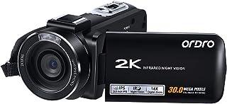 ビデオカメラ デジタルカメラ カムコーダー ORDRO HDV-Z63 QHD 2K 30fps 30MP Wi-Fi機能 IR夜視 3インチIPSスクリーン 270度回転可能 YouTube Vlog, リモコン+2個バッテリー+日本語説明書
