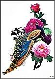 GS912 Tattoo 8.2''X5.7'' Beautiful Peacock Phoenix Feather Roses Cartoon Large Temporary Tattoos Waterproof Designs Body Fake Sticker Art Painting Old School Asian Tattoo 3D