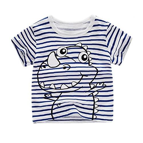 NiceJoy Schönheitspflegeprodukte Kleinkind T-Shirt-Kind-druckt Kurzarm T-Shirt Top-Baby-Mädchen-Sommer-Baumwoll Outfit Blauer Streifen 120cm
