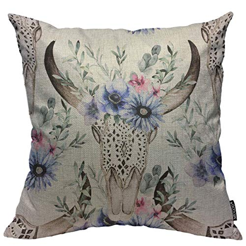 Mugod Throw Pillow Cover Watercolor Bull's Head with Flowers and Herbal Seamless Pattern Decorative Square Pillow Case for Home Bedroom Living Room Cushion Cover 18x18 Inch