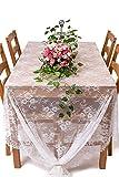 Y-step Tovaglia in pizzo bianco classico per matrimoni con ricamo con rose vintage per interni esterni Festa di Festival ricevimenti di Nozze, 152.4 x 299.7 cm